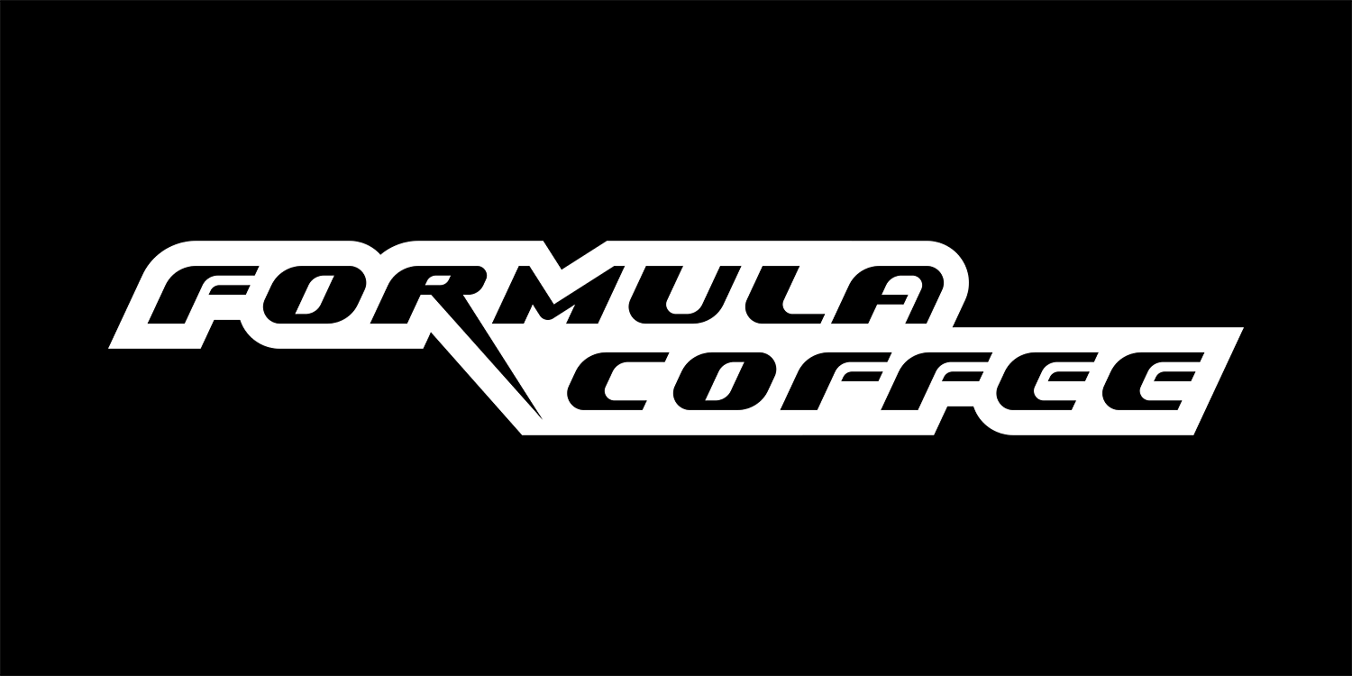 The dynamic logo of the coffee house Formula Coffee. The vibrant logo on the plate.