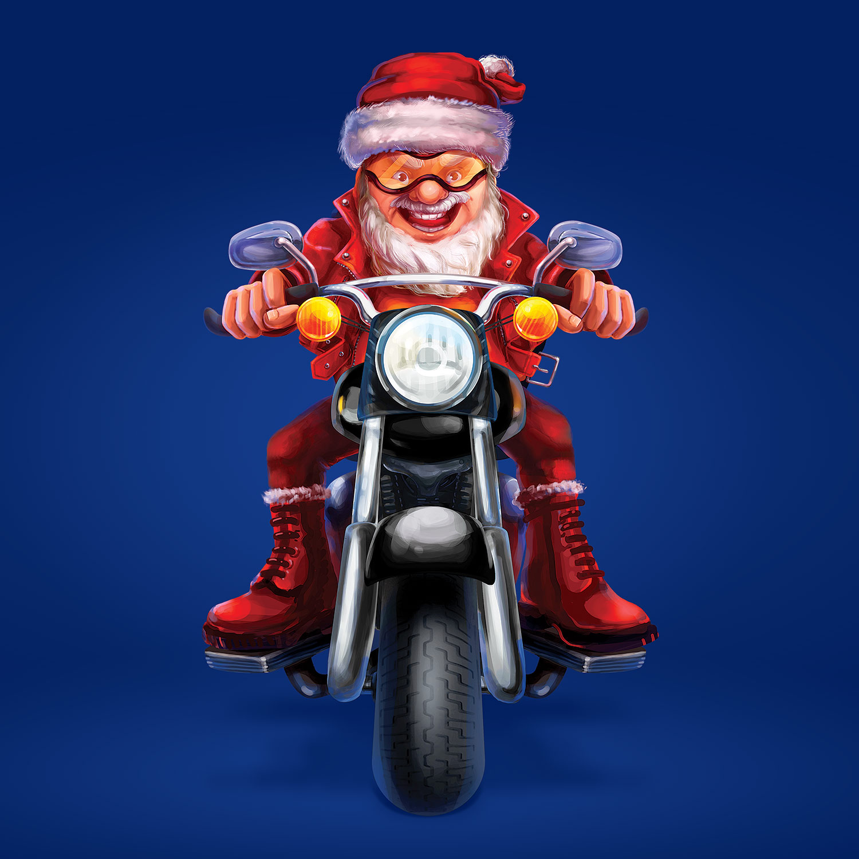 Santa Claus on a motorcycle. A biker Santa Claus, illustration for advertising. Mascot design.