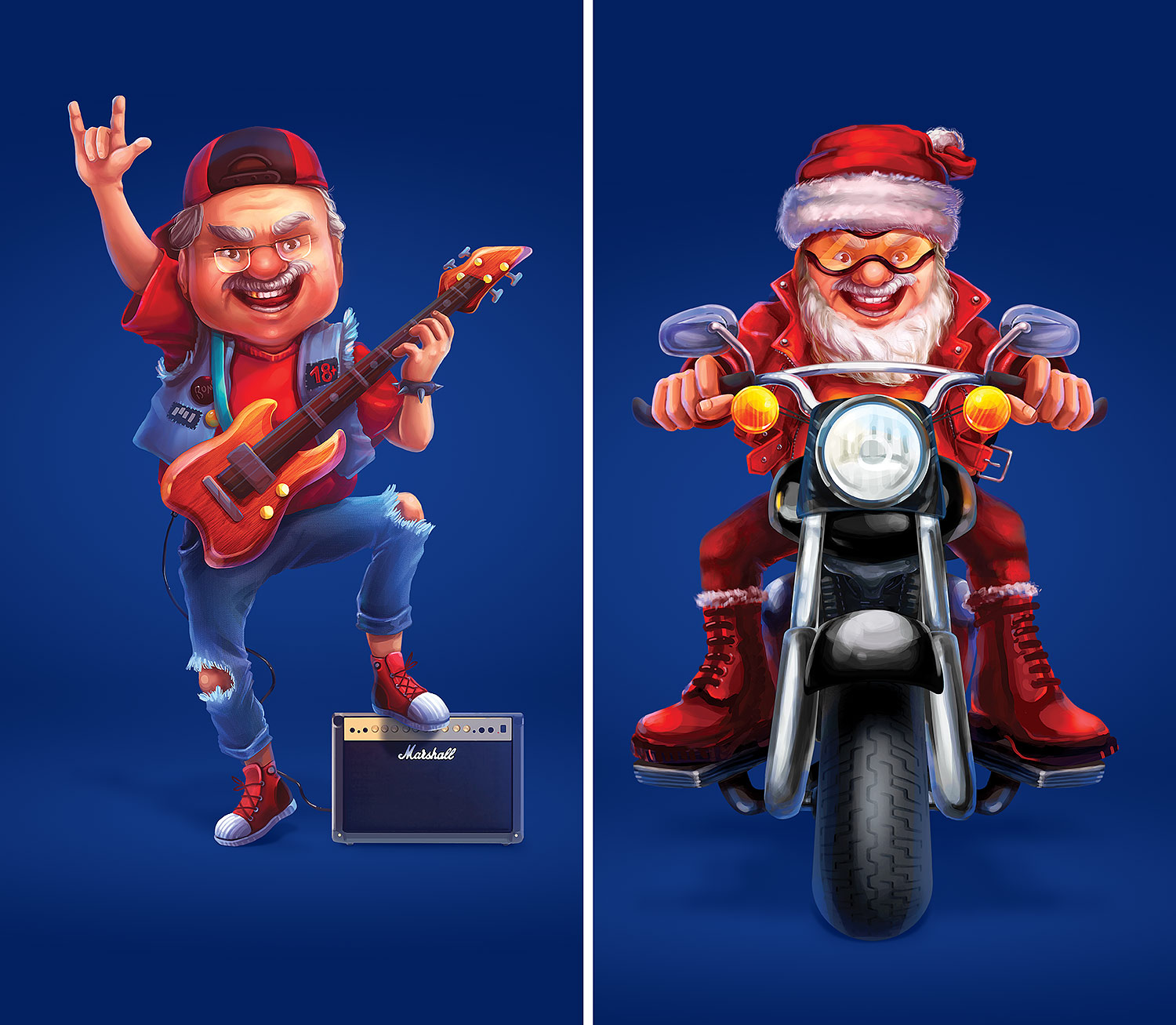 Character design for a bank's advertising. An elderly rocker with a guitar and a Santa biker, illustration. A biker Santa Claus on a motorcycle.
