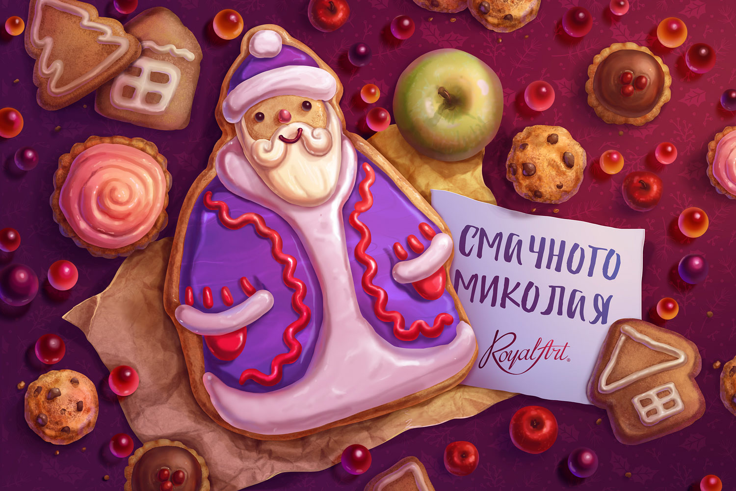 An e-card for St. Nicholas Day. Have a tasty Nicholas. Royal Art.
