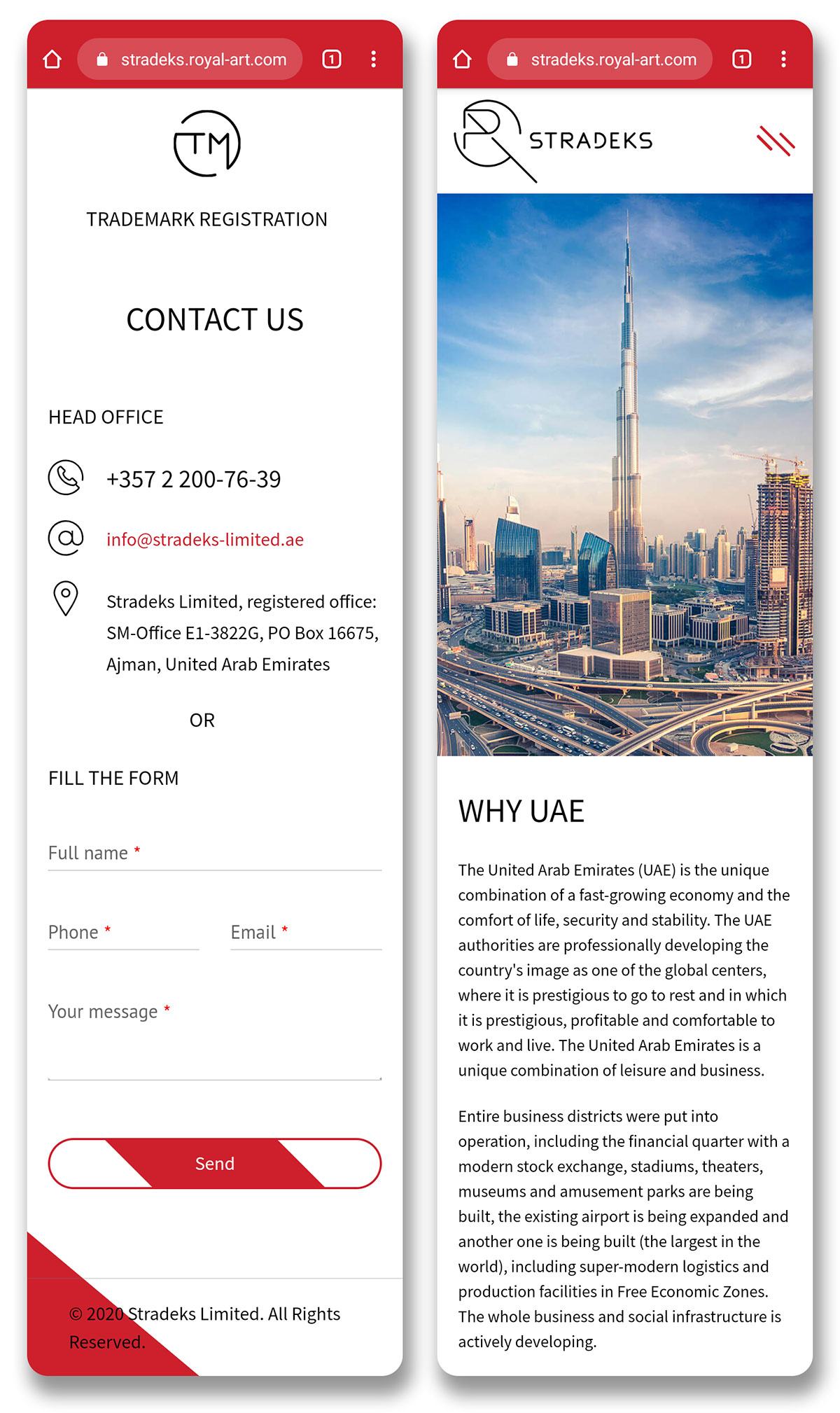 Trademark registration in the UAE (Stradeks). Website design for a company in the United Arab Emirates.