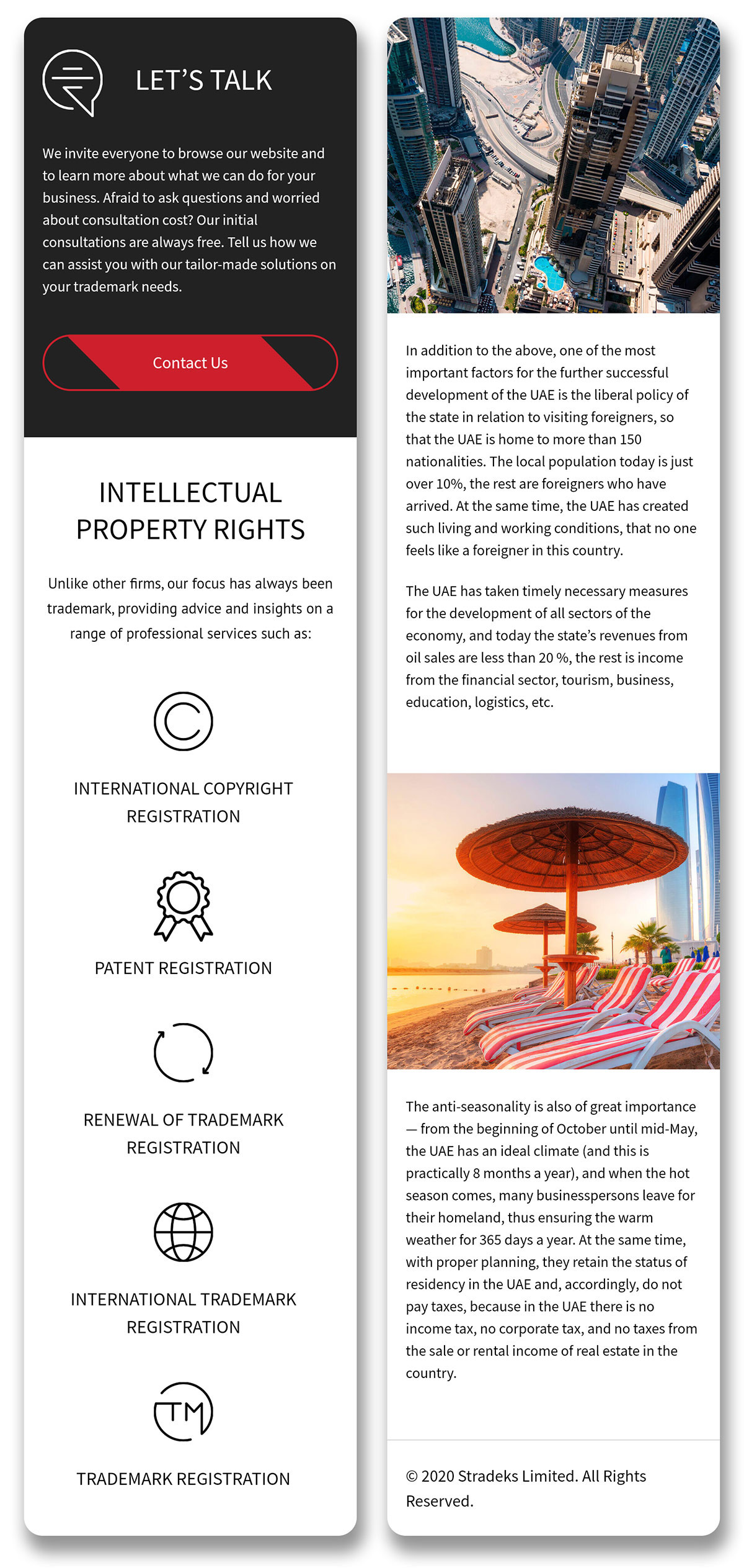 Intellectual property rights. Design of the mobile version of the website for Stradeks company in the United Arab Emirates.