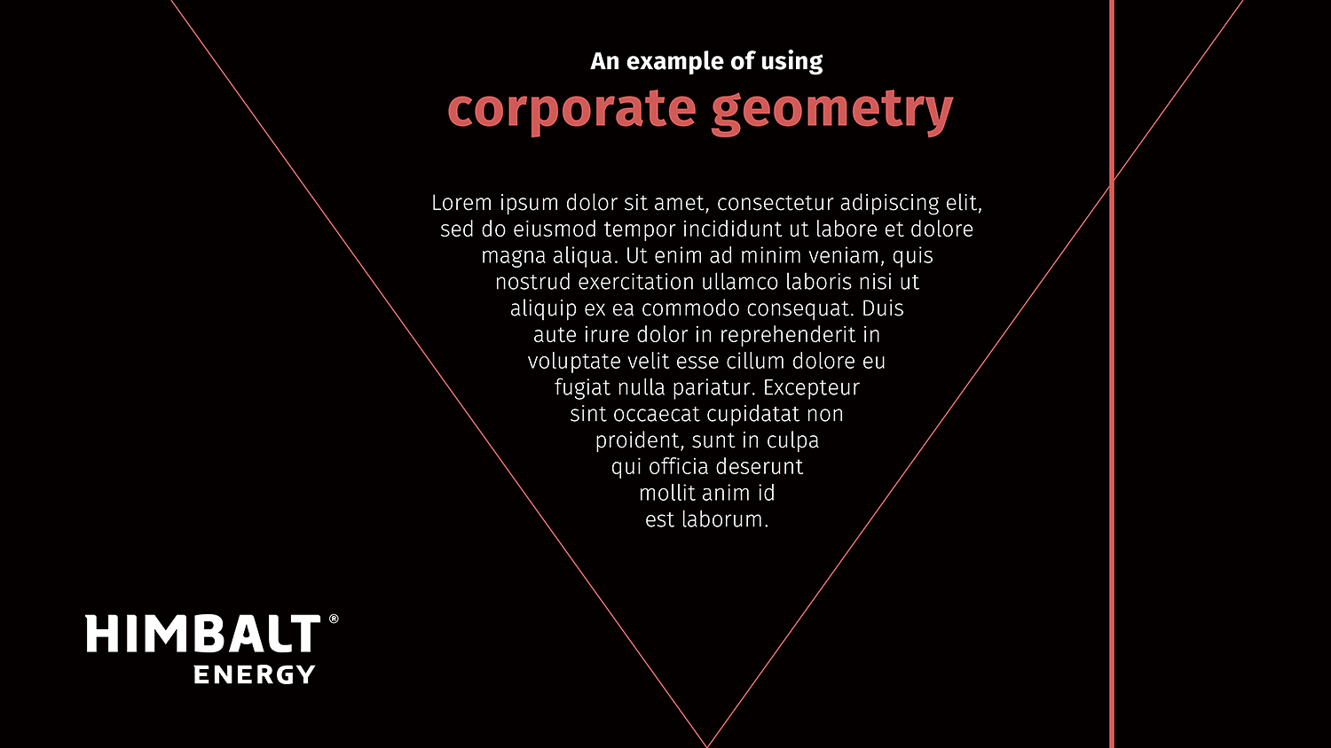 Signature geometry, example of using. Himbalt corporate graphic style.