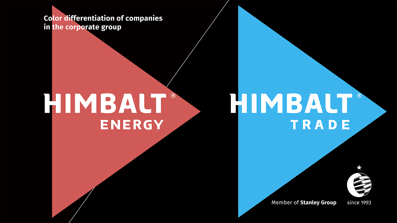 Color differentiation of Himbalt Energy and Himbalt Trade logos.