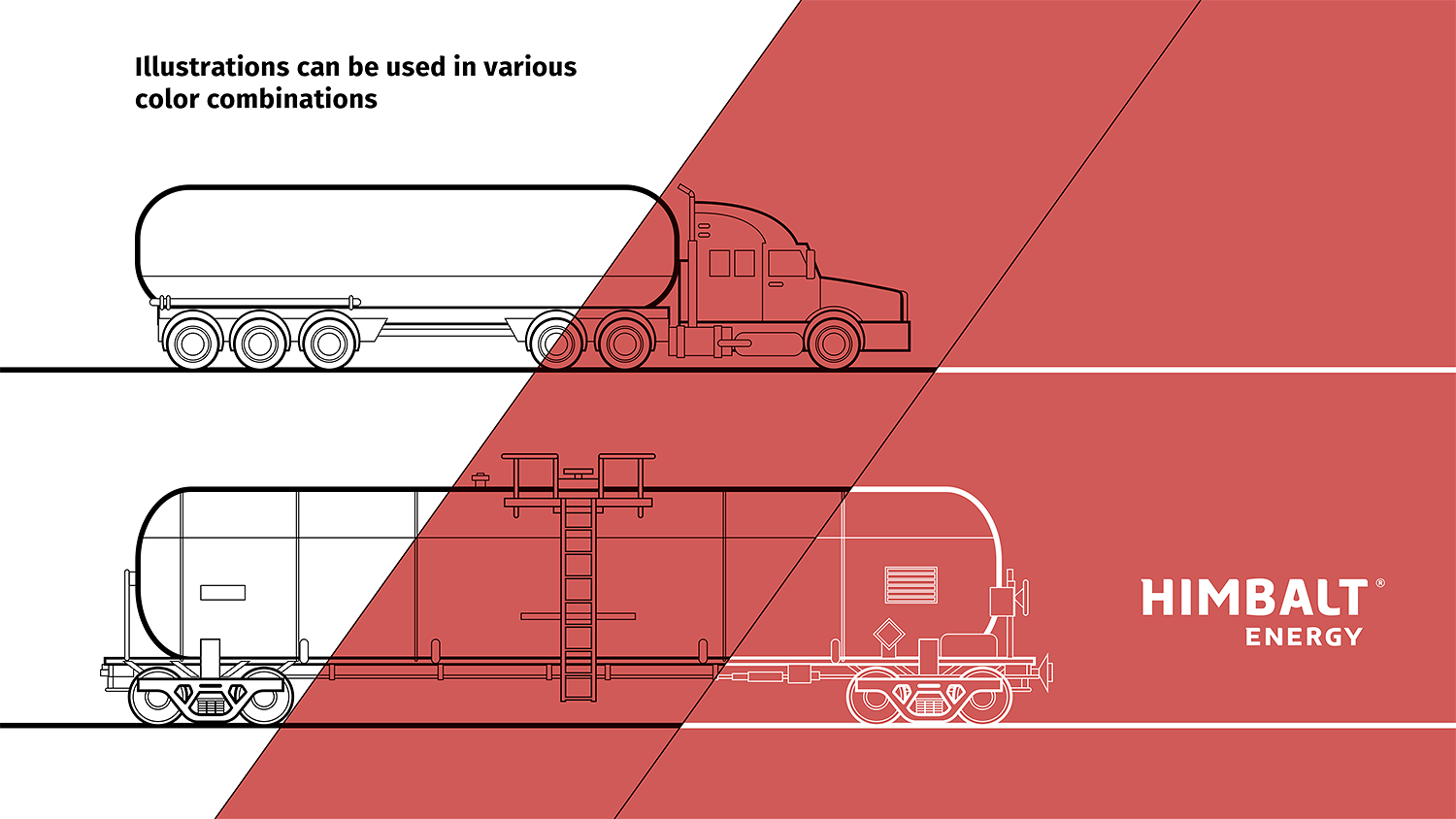 A tank truck, linear illustration. A linear drawing of the Himbalt Energy rail tank car for transportation of petroleum products.