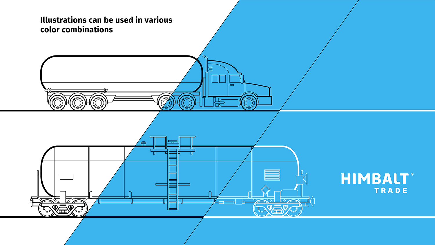 A railway tank car, linear illustration. A linear drawing of the Himbalt Trade tank truck for transportation of petroleum products.