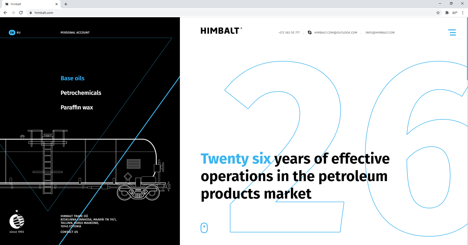 Vector illustrations in the website design. Himbalt website home page.
