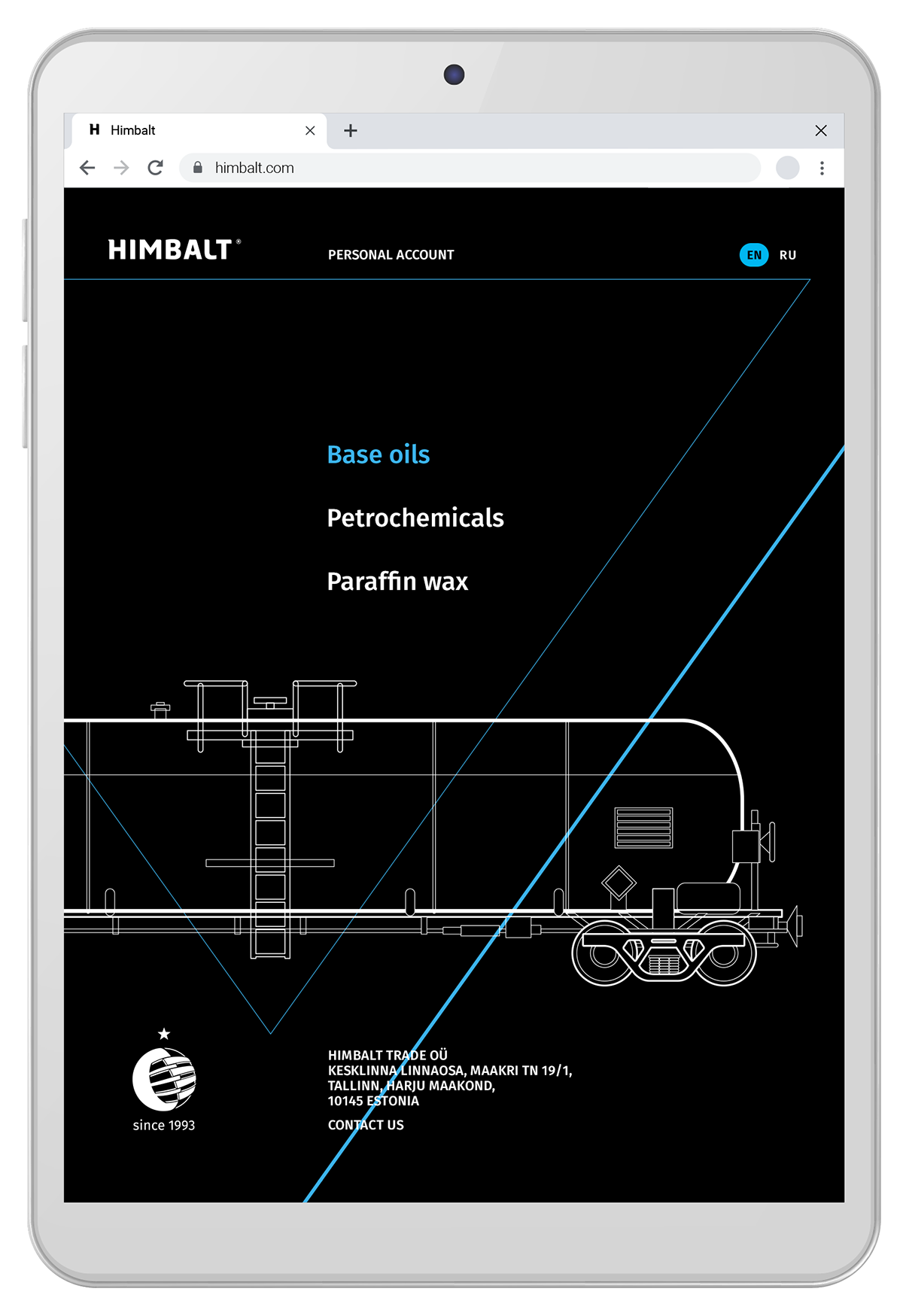 Mobile version of the Himbalt website, petroleum product transportation, linear vector illustrations.