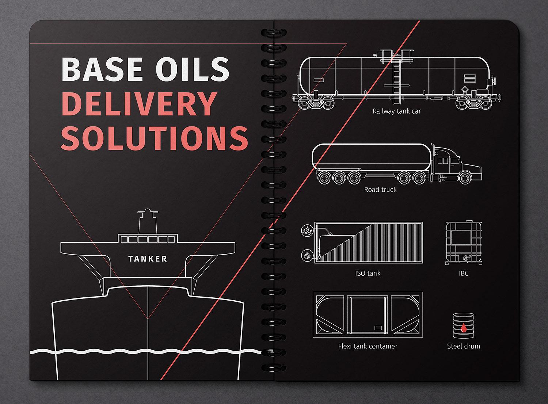 Векторные линейные иллюстрации. Морской танкер, вагон-цистерна и автомобиль цистерна, ISO-контейнер. Доставка базовых масел Himbalt (Химбалт).