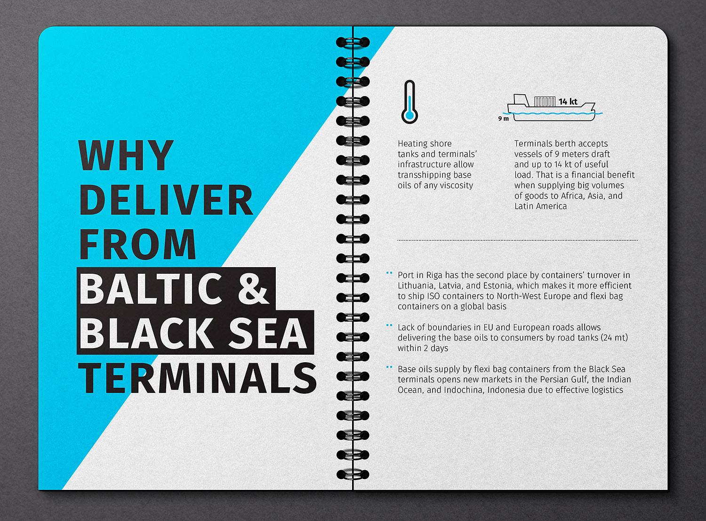 Доставка из портов Черного и Балтийского морей. Презентация поставщика нефтепродуктов Himbalt (Химбалт). Верстка презентации.