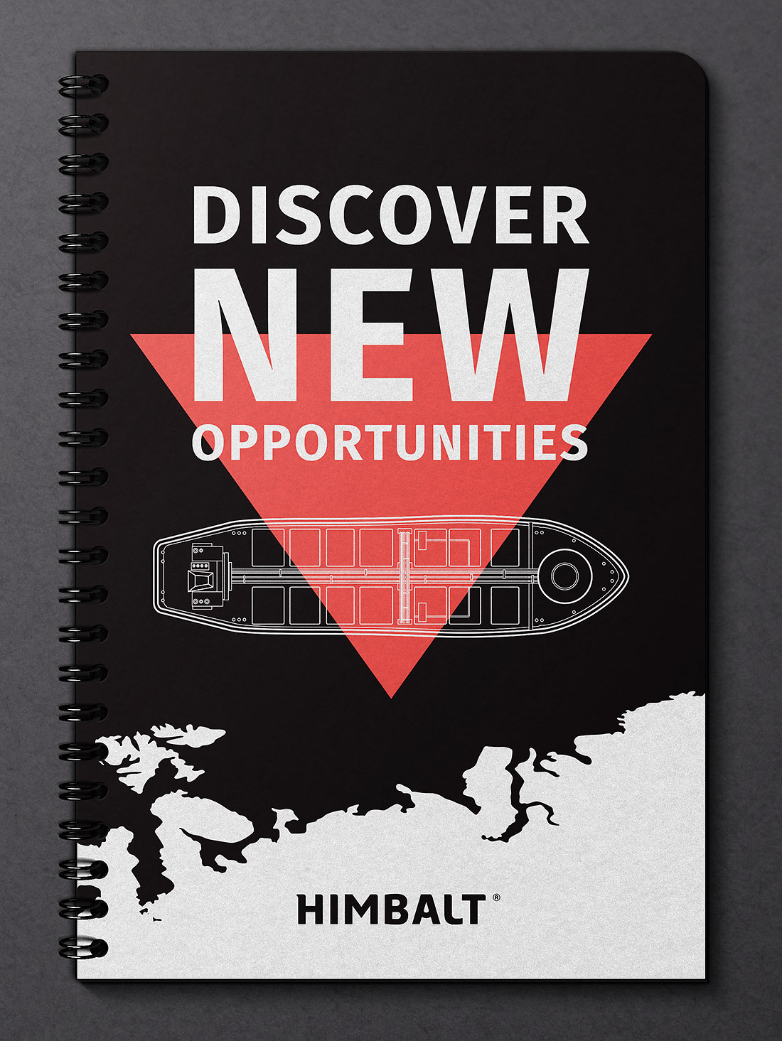 The cover page of a presentation on petroleum products. Discover new opportunities Himbalt. Presentation on a black metal spring.