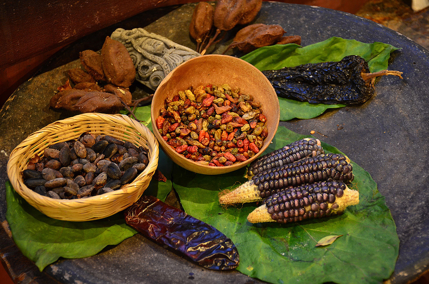 Cocoa beans, chili peppers, and corn. The chocolate recipe of Mayan Indians.