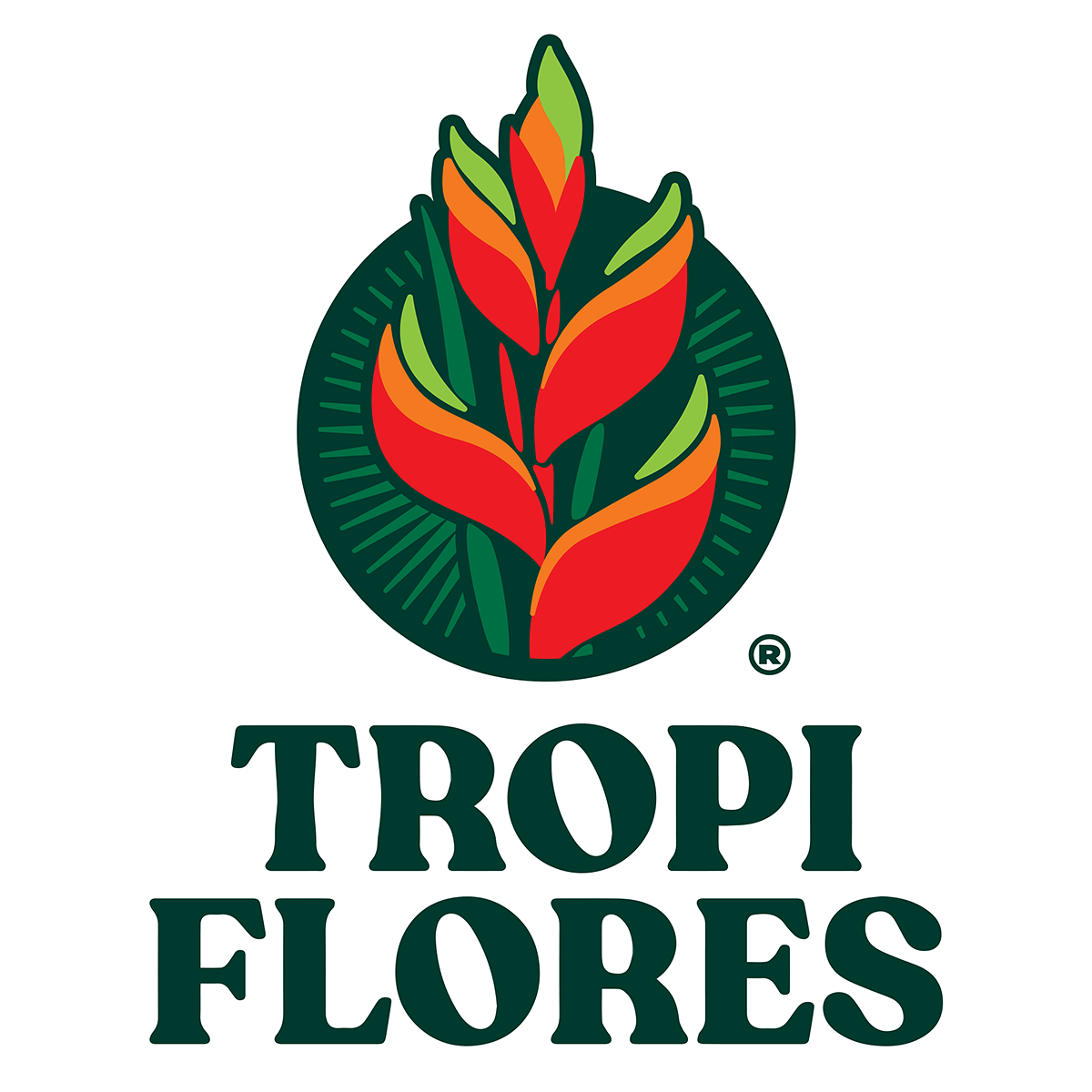 The Tropi Flores logo (tropical flowers), color version. Floral logo. Heliconia, the flower in the logotype.