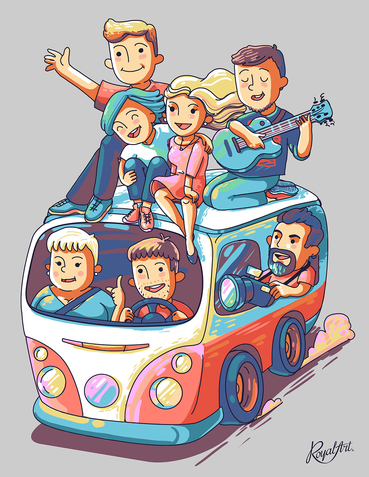 A fun illustration of the creative team with a guitar in Volkswagen T1 (VW T1) hipster bus. The Royal Art team.