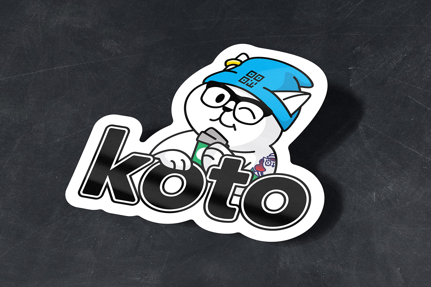 koto stickers. Bank character QR cat hipster with coffee.