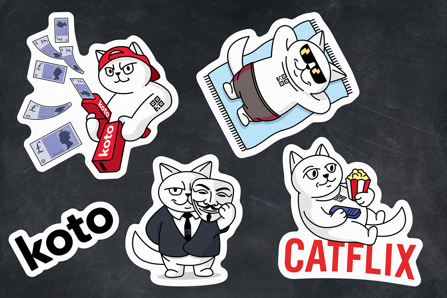 Set of koto stickers. Sticker pack: money gun, catflix, cat on the beach, Anonymous cat.