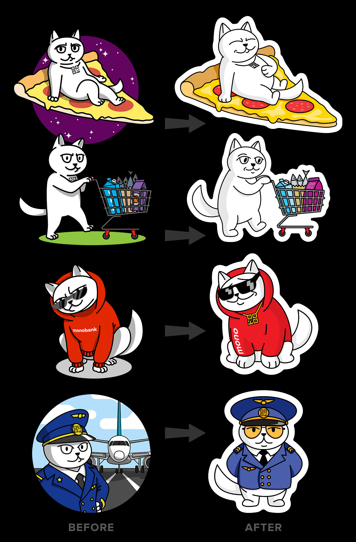 Bank mascot QR cat redesign for stickers for points of sales, where one can get cashback with a monobank card.