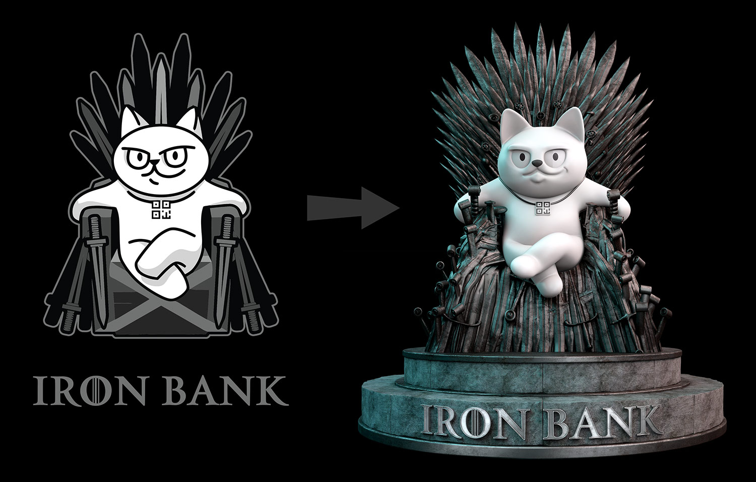 Convert vector graphics to 3D model. Iron Bank monobank sticker cat on the iron throne.