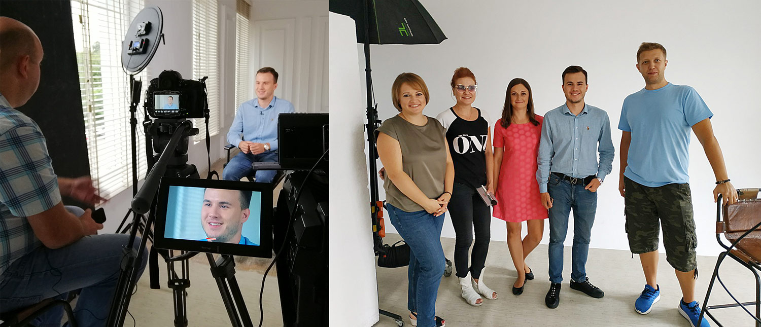 PwC Academy Ukraine staff and faculty with the production crew.