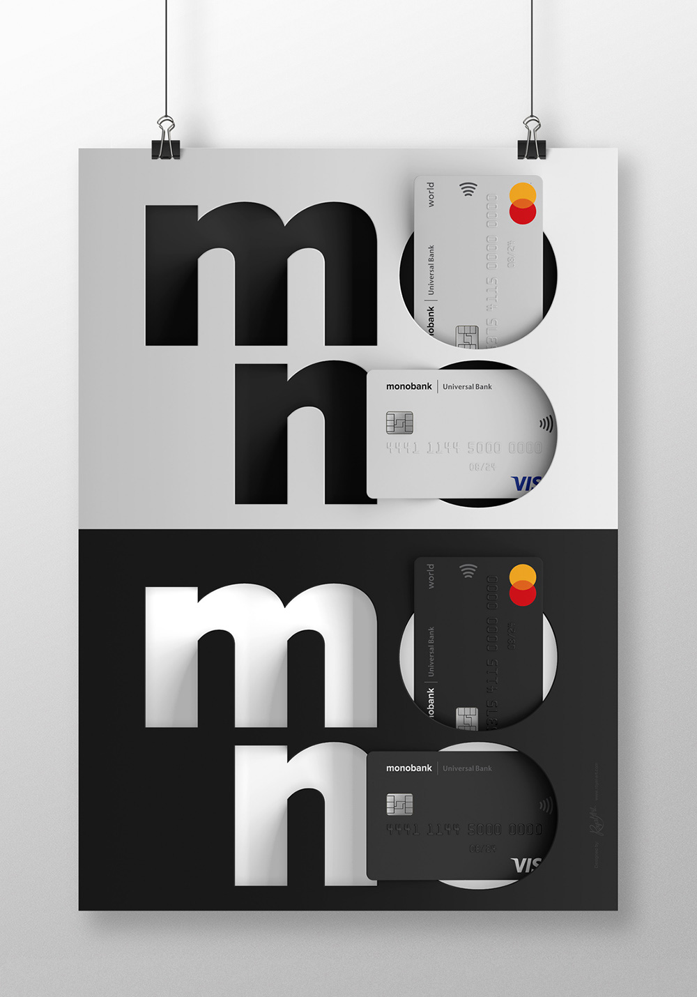 mono cards. The VISA and Mastercard white and black monobank cards. The poster design for the bank's office.