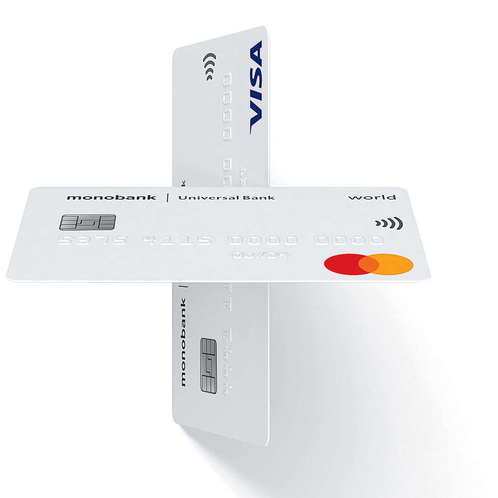 The debit card, the white monobank card. 3D layout of the VISA and Mastercard cards. 3D plus made of plastic payment cards.