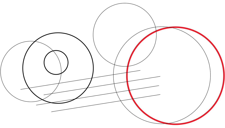 Лінійна ілюстрація в дизайні календаря. Векторні кола і лінії.