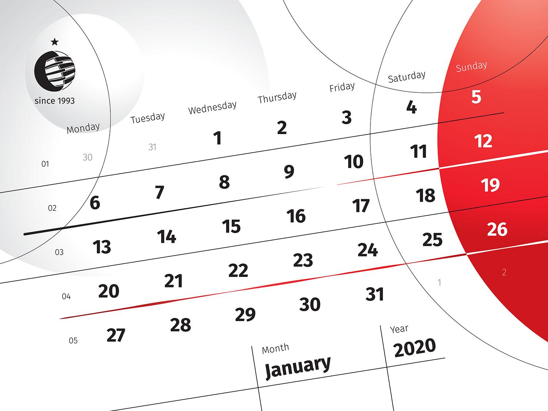Діагональна верстка календаря. Календарна сітка, зверстана по діагоналі. Настільний календар Стенлі.