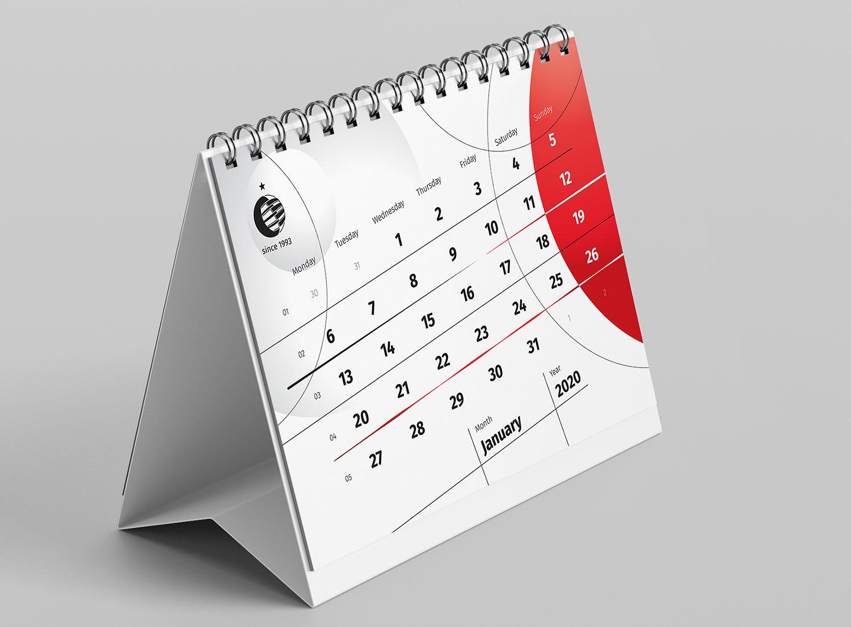 Настільний календар-будиночок з нестандартною версткою. Діагональна верстка календарної сітки. Стильний фірмовий календар Стенлі.