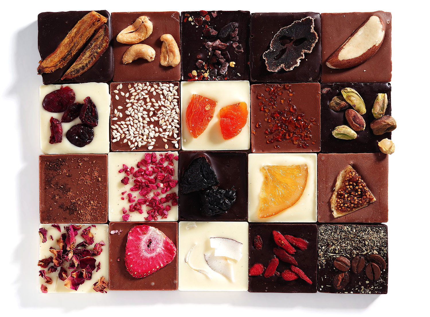 20 flavors of chocolate for 2020. Exclusive chocolate, special recipe. Unique flavors of chocolate. Chocolate gift Altbank.