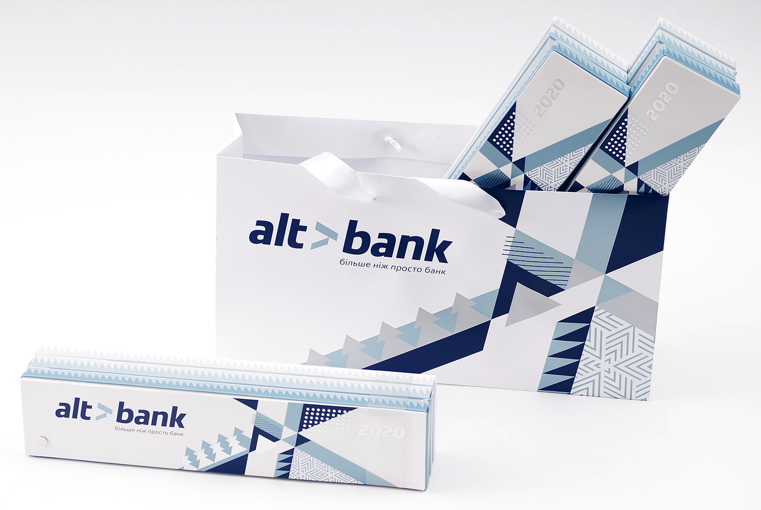 Exclusive and unusual New Year gift, a sweet tasty gift of Altbank. Chocolate 20 flavors for 2020. Packaging design, cardboard bag with satin ribbons. Fan shape box with holniten.