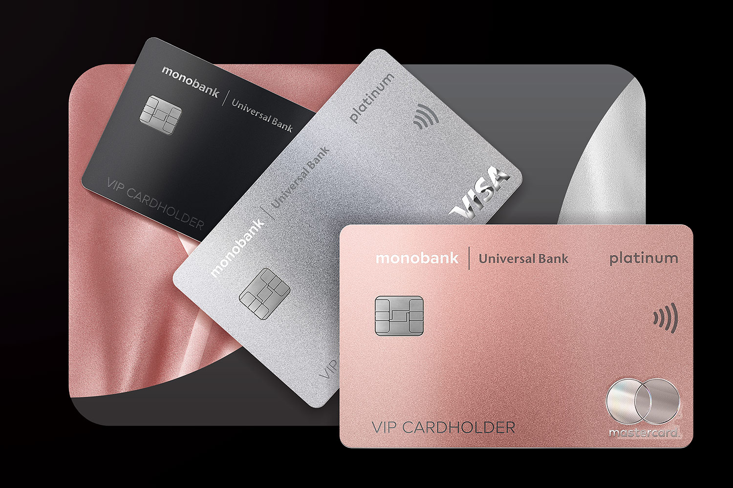 monobank platinum payment cards with a metallic effect.