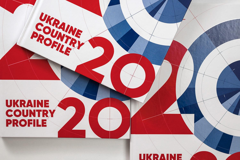 Стильный дизайн обложки бизнес-издания. Векторные линии и диаграммы в дизайне книги «Обзор экономики Украины» (Ukraine Country Profile) 2020.