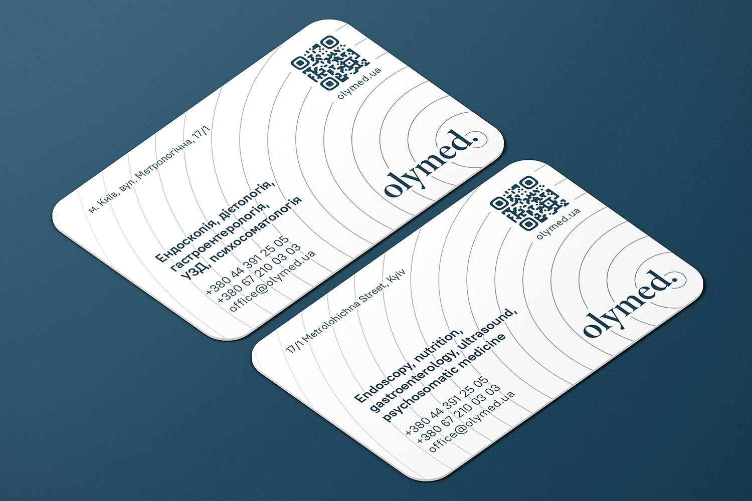 OLYMED clinic business card design. Endoscopy, nutrition, gastroenterology, ultrasound, psychosomatic medicine.