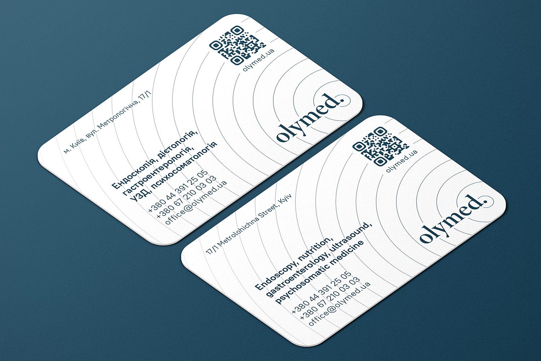 Дизайн визитки для клиники OLYMED (Олимед). Эндоскопия, диетология, гастроэнтерология, УЗИ, психосоматология.