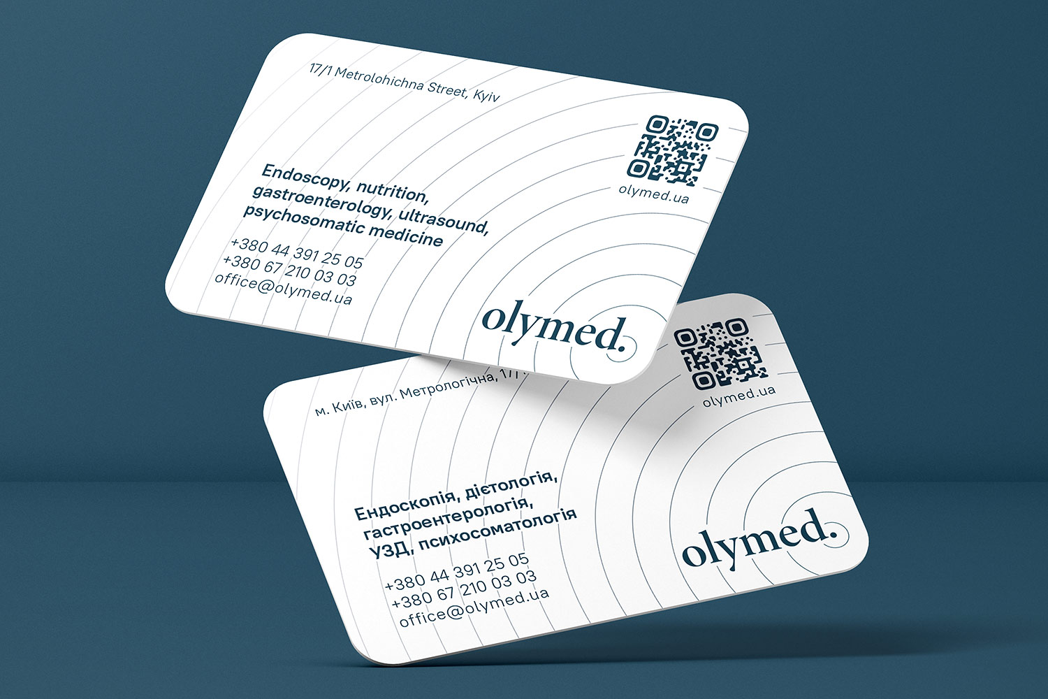 Business card design for OLYMED clinic. Endoscopy, nutrition, gastroenterology, ultrasound, psychosomatic medicine.