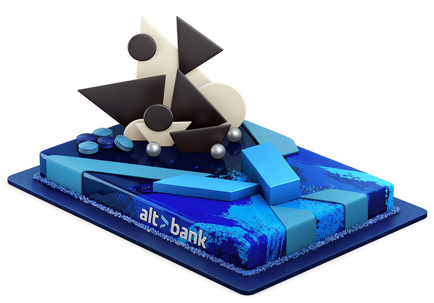 The corporate cake with the Altbank logo. Cake 3D model.