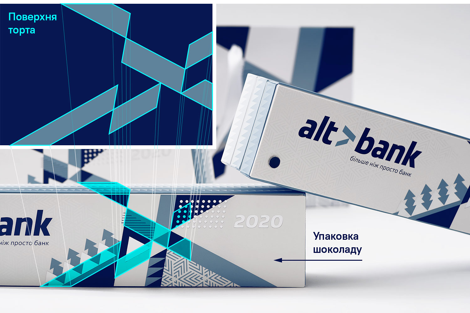 The layout of the chocolate packaging and Altbank cake design.