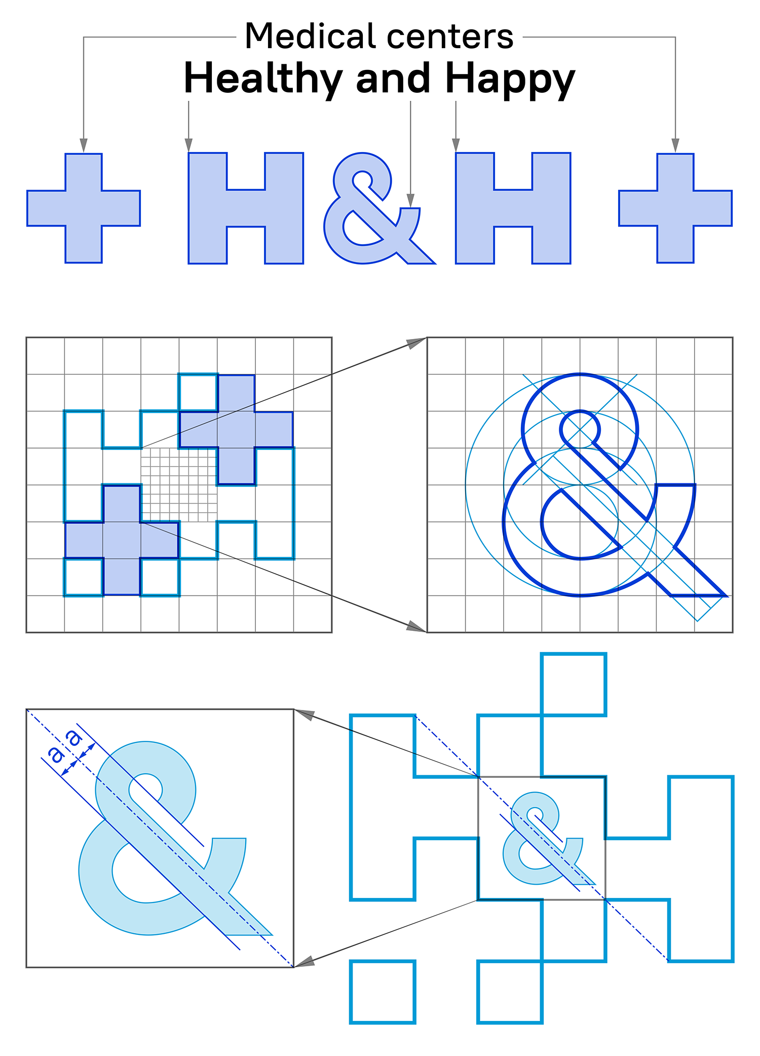 The idea of the logo for Healthy and Happy medical centers. Creating the logo on the modular grid.