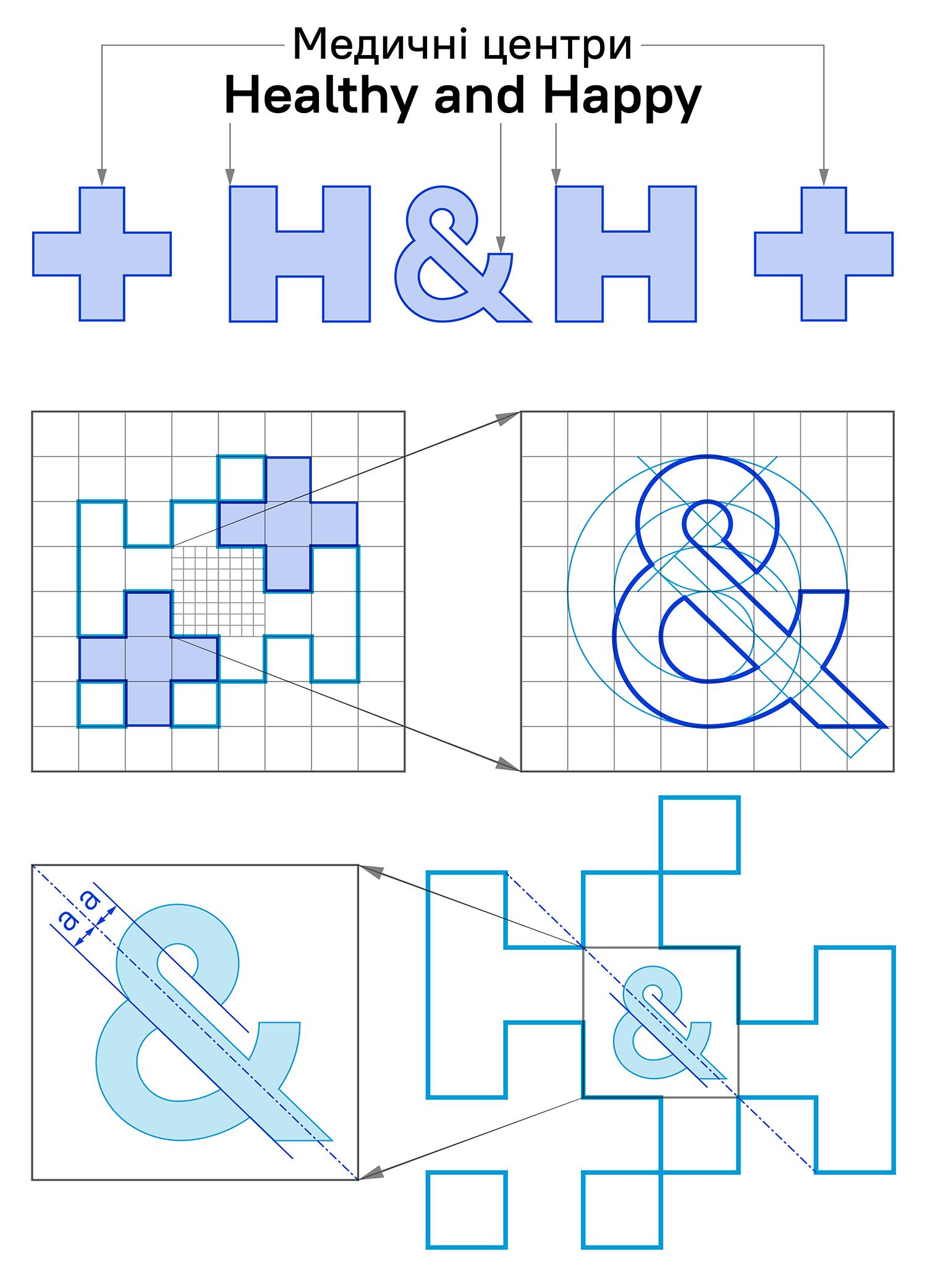 Ідея логотипа мережі медичних центрів Healthy and Happy (Хелсі енд Хепі). Побудова логотипа за модульною сіткою.