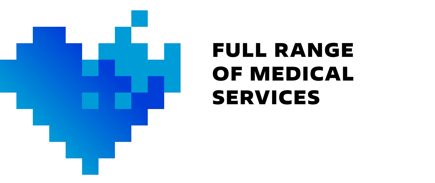 Full range of medical services icon. Corporate medical icons pixel art.