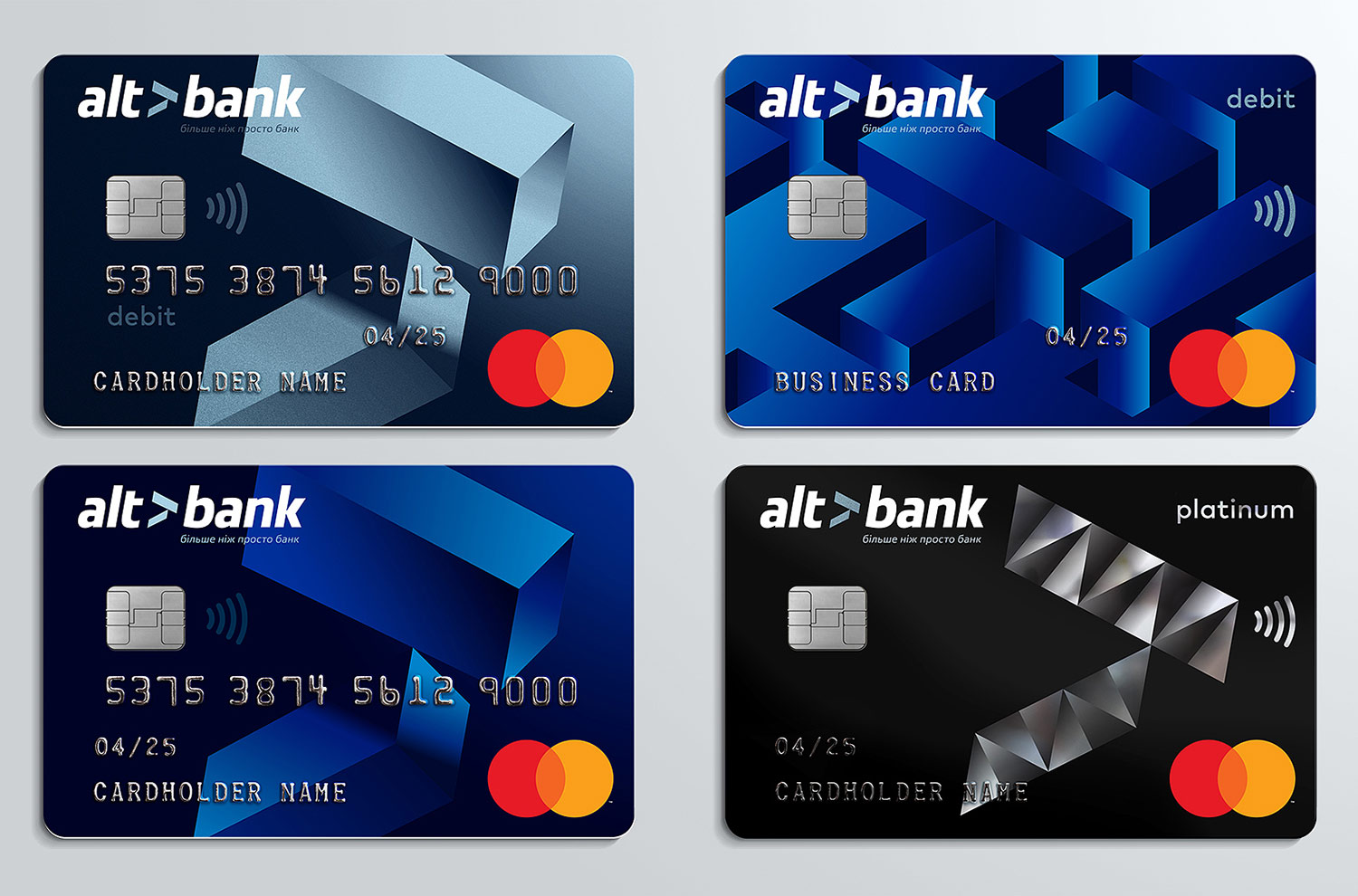 Bank cards design and pre-press. Altbank Mastercard plastic cards.