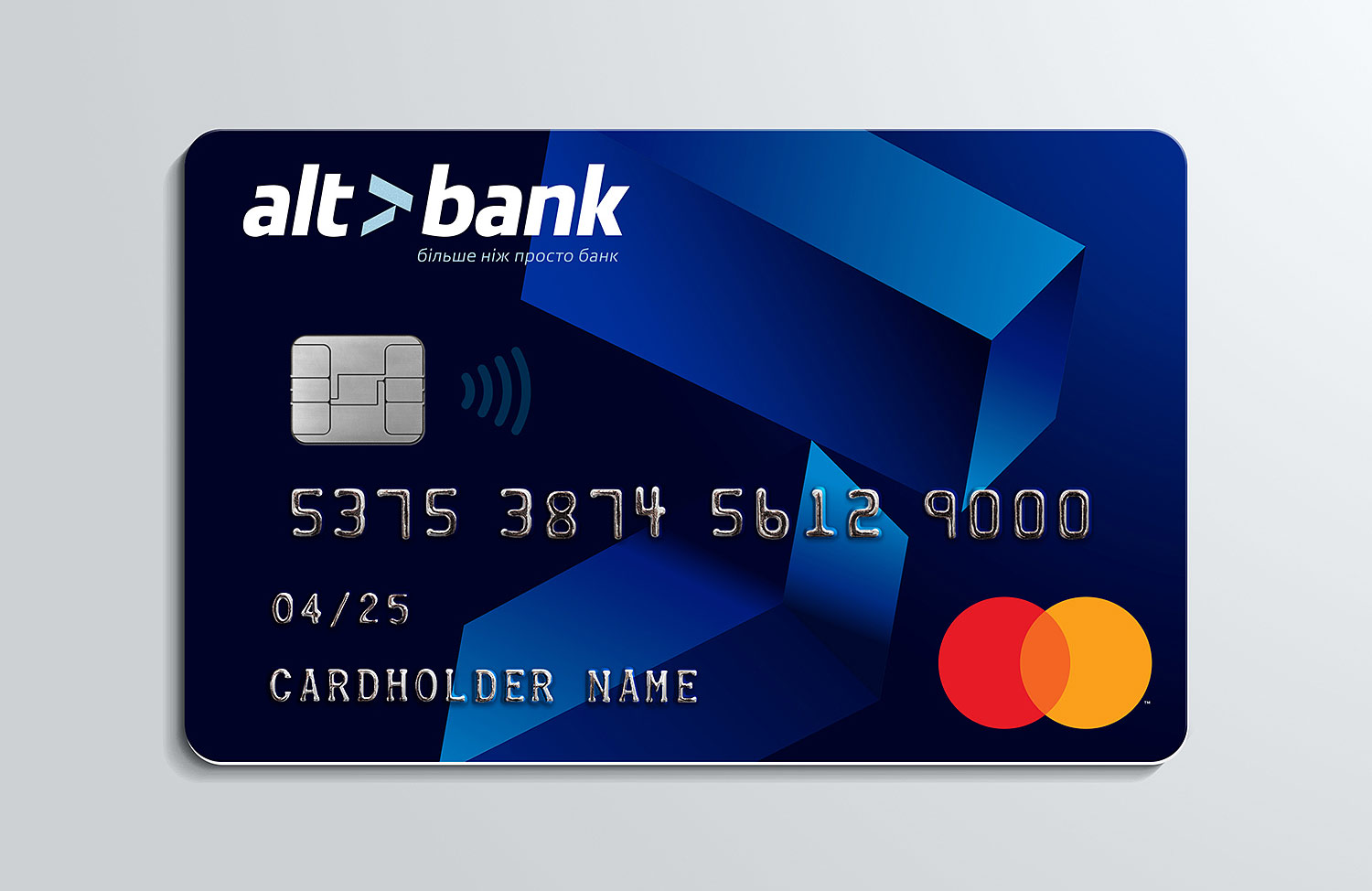 The Altbank credit card. The credit card design, Pantone gradients pre-press.