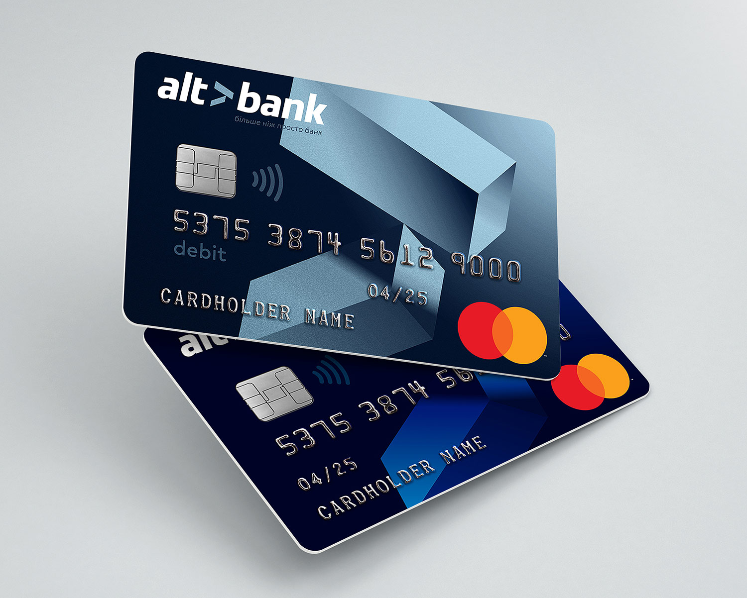 Mastercard debit and credit cards. Altbank bank card design.