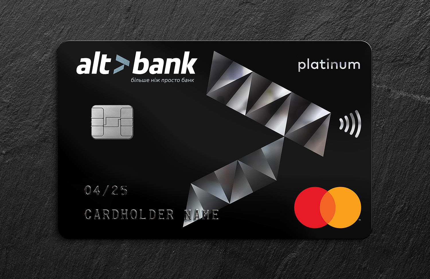 Altbank Platinum. Premium platinum card, black plastic and foil. Payment card design.
