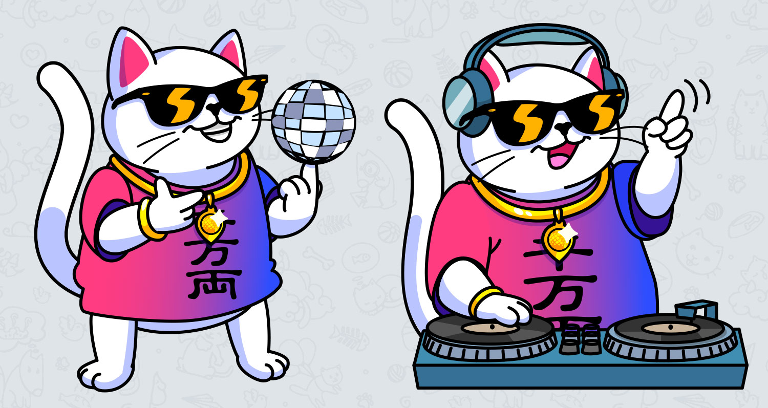 A party cat, DJ cat, and disco ball. The corporate character for the Unight mobile application.