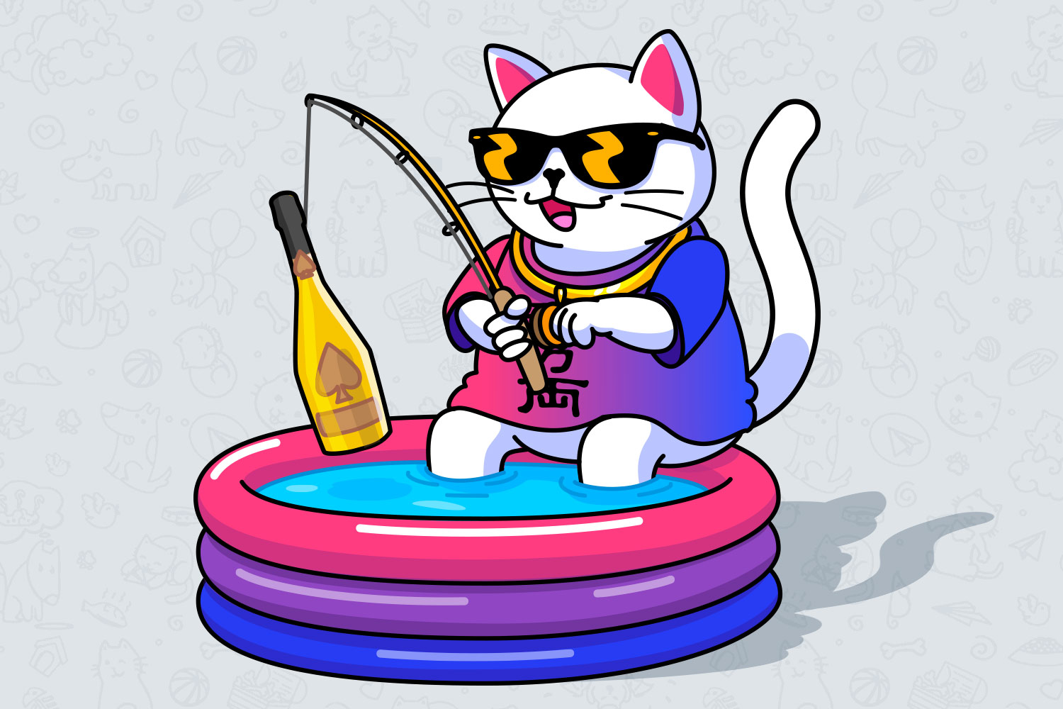 The cat with a fishing rod in a pool, the cat wearing glasses. Unight mobile app mascot.