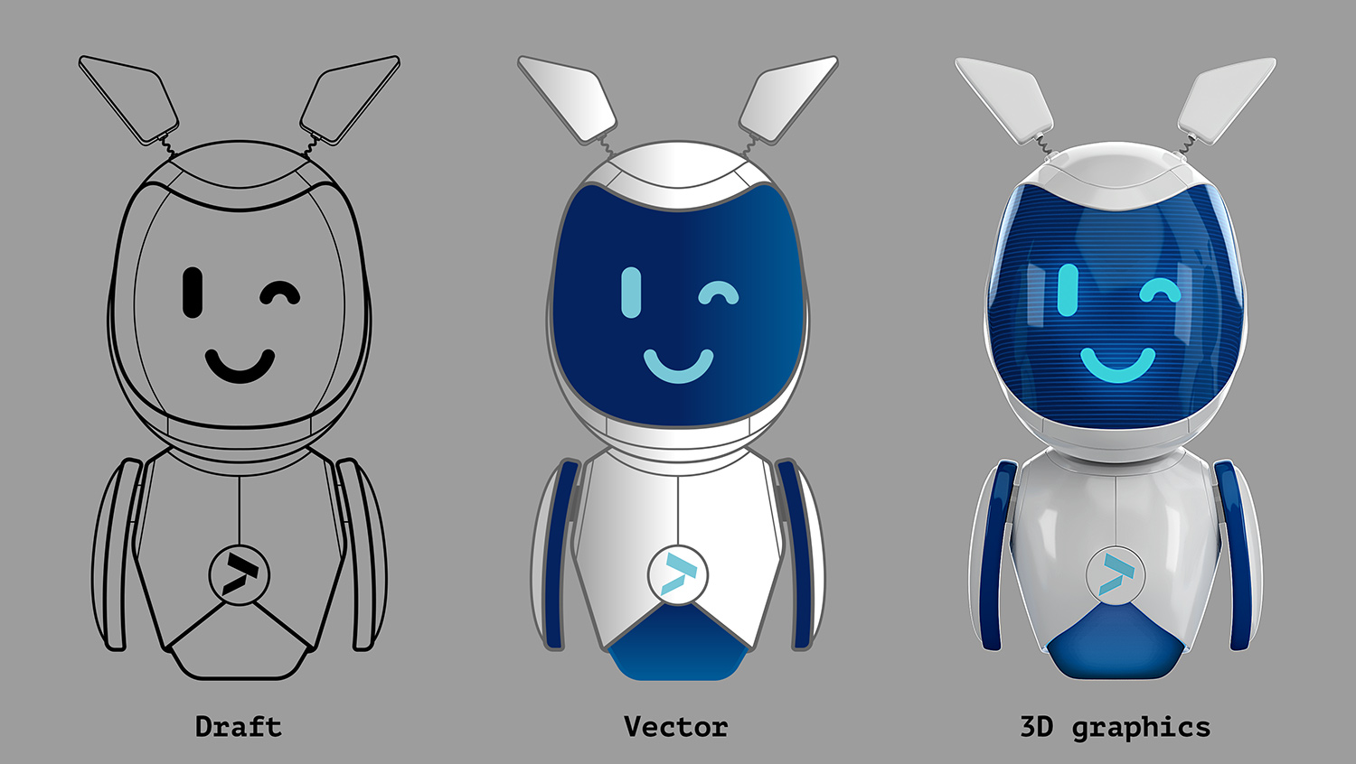 Altbank's corporate character—robot Alt. The vector robot, the 3D model of the robot.