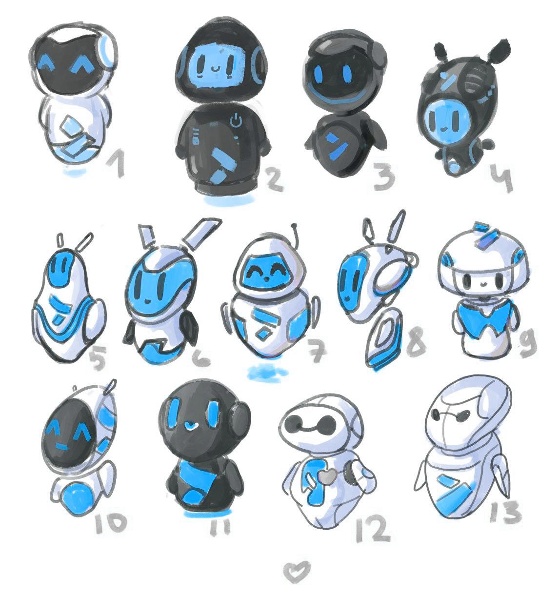 Bank mascot sketches. The robot design, shape selection. The robot for Altbank, drawing versions of the robot.
