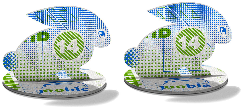 Corporate rabbit from the Jooble logo. A custom invitation card for the company's birthday party, creative design.