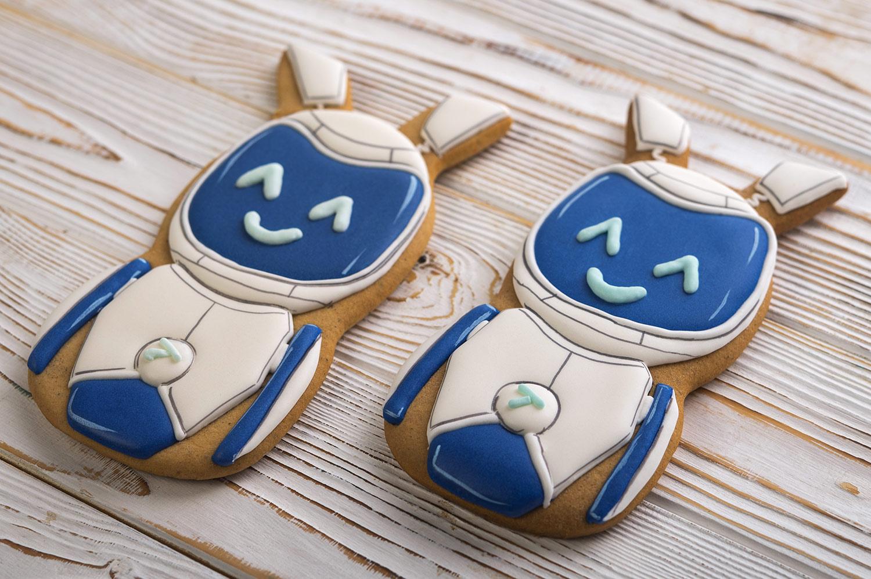 Корпоративне печиво на Різдво. Імбирний різдвяний пряник у вигляді робота Альтбанк, подарунок дітям.